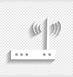 Wifi modem sign white icon with soft vector