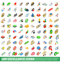 100 excellence icons set isometric 3d style vector