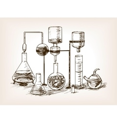 Chemical laboratory still life sketch vector