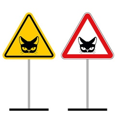Warning sign attention cat hazard yellow signpet vector