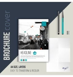 Brochure cover template with blurred city vector