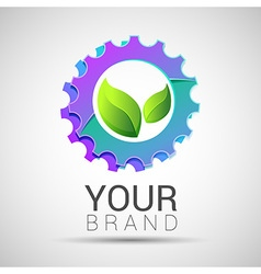 Green leaf with two gears cogs logo design vector