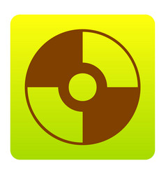 Cd or dvd sign brown icon at green vector