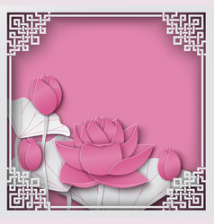 abstract chinese pattern frame with lotus flower vector image