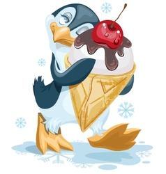 Penguin is an ice cream cone with a cherry vector