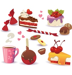 Set of cakes and other sweet food vector image