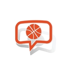 Basketball message sticker orange vector