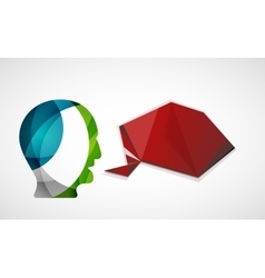 Human head with origami blank speech bubble vector