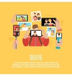 Selfie pictures flat icons composition poster vector