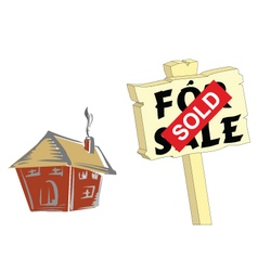 House sold sign vector