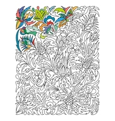 Ethnic colored floral zentangle doodle background vector