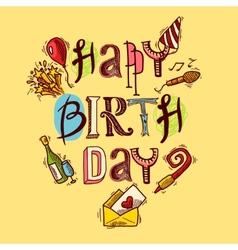 Birthday card sketch vector image vector image