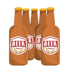 brown bottles of beer icon image vector image