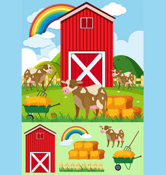 Brown cows and red barn on the farm vector