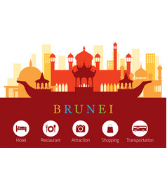 Brunei landmarks skyline with accommodation icons vector