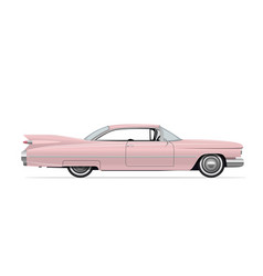 Classic american vintage pink car vector
