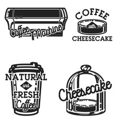 color vintage cafe emblems vector image vector image