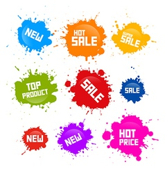 Colorful sale blots icons isolated on white vector