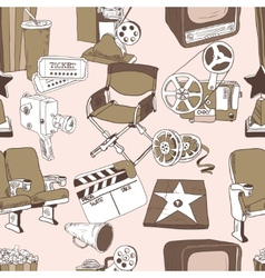 Doodle cinema seamless pattern vector