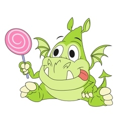 Dragon baby with candy 2 vector image