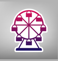 Ferris wheel sign purple gradient icon on vector