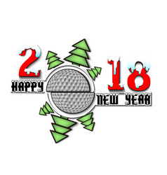 happy new year 2018 and golf vector image