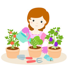 Happy woman watering plants cartoon vector