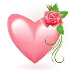 Heart with rose vector image vector image