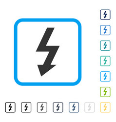 High voltage framed icon vector
