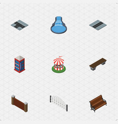 Isometric architecture set of barricade bench vector
