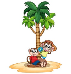 Monkeys and tree vector image vector image