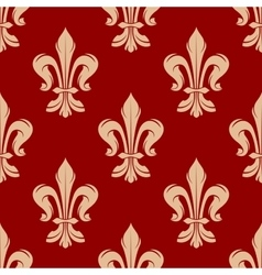 Red floral seamless pattern with fleur-de-lis vector