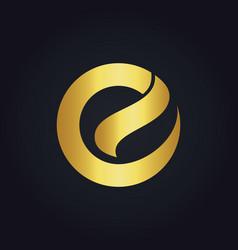 round letter e shape gold logo vector image