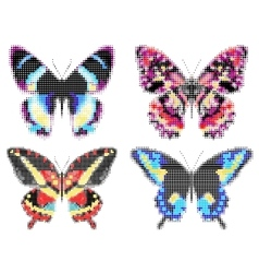 Set of colorful butterflies Halftone effect vector image