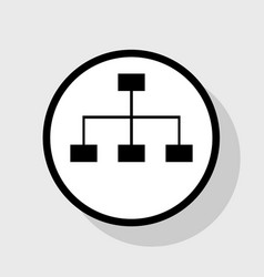 Site map sign flat black icon in white vector