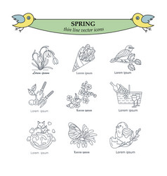 Spring thin line icons vector