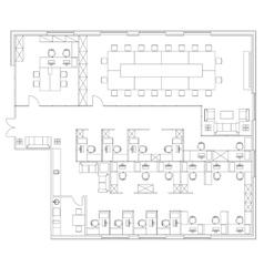 Standard office furniture symbols set vector