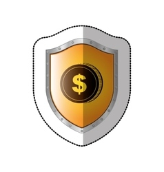 Sticker shield with silhouette coin with dollar vector