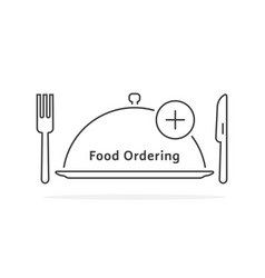 thin line food ordering with tray vector image vector image