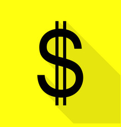 United states dollar sign black icon with flat vector