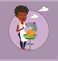 Woman cooking chicken on barbecue grill vector