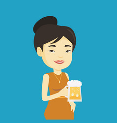 woman drinking beer vector image vector image