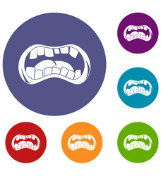 Zombie mouth icons set vector