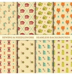 Sewing and needlework patterns vector