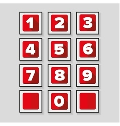 Number set red - flat design vector