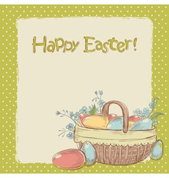 Retro styled hand drawn vintage easter card vector