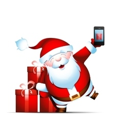 Santa Claus holds smartphone vector image