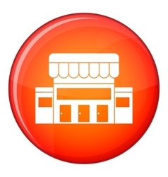 Supermarket building icon flat style vector