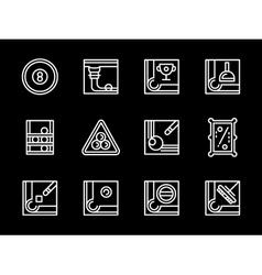 Billiards sport white line icons set vector image
