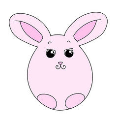 Cute pink easter bunny vector